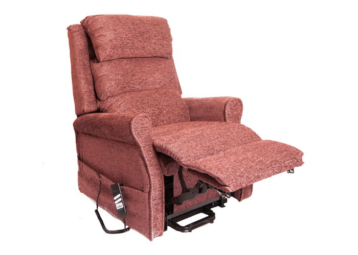 Kingsley, Footrest Raised, In Claret Red