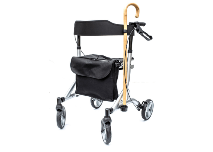 Zoom Rollator in Metallic Silver with Stick